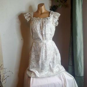 Eva Franco vintage white & metallic Dress size 8